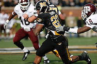 MU tailback Tony Temple scores a touchdown on a 44 yard run as Texas A&M cornerback Arkeith Brown attempts the tackle during the first quarter at Memorial Stadium in Columbia, Missouri on November 10, 2007. The Tigers won 40-26.
