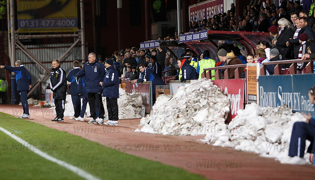 Snow piled up around Tynecastle Stadium
