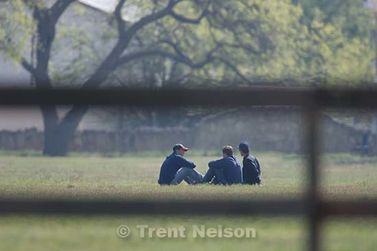 San Angelo - A group of FLDS boys outside at Fort Concho, where they are being held by Texas Child Protective Services Tuesday, April 8, 2008. CPS says they have taken 401 children from the YFZ Ranch into protective custody and brought them to Fort Concho..