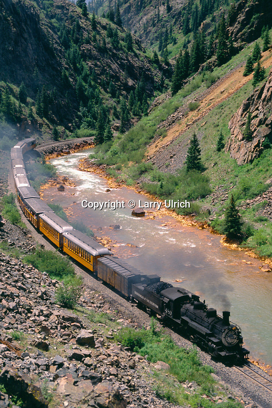 Durango to Silverton Narrow Gauge Railroad<br /> Animas River Canyon<br /> San Juan Mountains<br /> Colorado