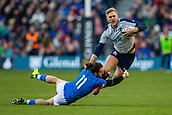 2nd February 2019, Murrayfield Stadium, Edinburgh, Scotland; Guinness Six Nations Rugby Championship, Scotland versus Italy; Chris Harris of Scotland is tackled by Michele Campagnaro of Italy