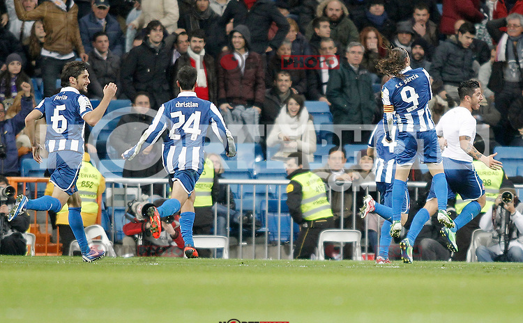 Espanyol's Juan Forlin, Christian Lopez and Sergio Garcia celebrate during La Liga match. December 16, 2012. (ALTERPHOTOS/Alvaro Hernandez)