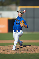 Duke Blue Devils relief pitcher Henry Williams (47) in action against the Coastal Carolina Chanticleers at Segra Stadium on November 2, 2019 in Fayetteville, North Carolina. (Brian Westerholt/Four Seam Images)
