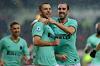 23rd November 2019; Olympic Grande Torino Stadium, Turin, Piedmont, Italy; Serie A Football, Torino versus Inter Milan; Stefan de Vrij of Inter Milan celebrates with teammates after scoring the goal for 2-0 for Inter in the 32th minute - Editorial Use