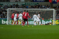 Saturday 2nd Febuaray 2014<br /> Pictured: Michel Vorm  saves a shot during  the first half <br /> Re: Barclays Premier League Swansea City FC  v Cardiff City FC at the Liberty Stadium, Swansea