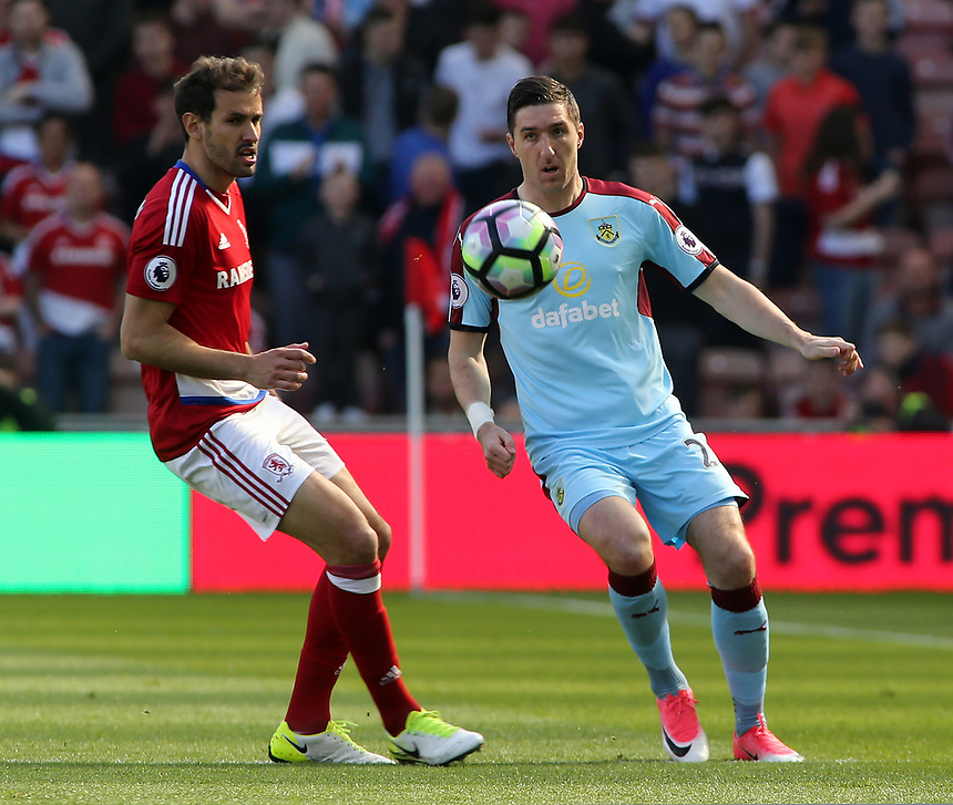 Burnley's Stephen Ward clears the danger<br /> <br /> Photographer David Shipman/CameraSport<br /> <br /> The Premier League - Middlesbrough v Burnley - Saturday 8th April 2017 - Riverside Stadium - Middlesbrough<br /> <br /> World Copyright &copy; 2017 CameraSport. All rights reserved. 43 Linden Ave. Countesthorpe. Leicester. England. LE8 5PG - Tel: +44 (0) 116 277 4147 - admin@camerasport.com - www.camerasport.com