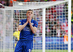 Leicester's Jamie Vardy looks on dejected during the Champions League Quarter-Final 2nd leg match at the King Power Stadium, Leicester. Picture date: April 18th, 2017. Pic credit should read: David Klein/Sportimage