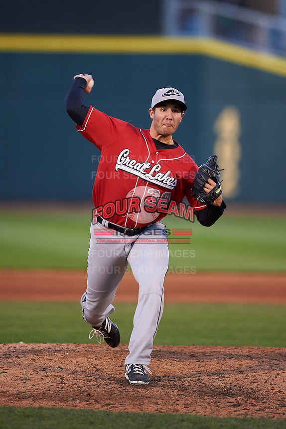 Great Lakes Loons pitcher J.D. Underwood (38) delivers a pitch during a game against the Dayton Dragons on May 21, 2015 at Fifth Third Field in Dayton, Ohio.  Great Lakes defeated Dayton 4-3.  (Mike Janes/Four Seam Images)