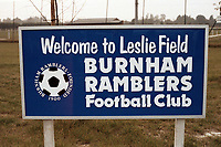 Entrance sign at Burnham Ramblers FC Football Ground, Leslie Field, Springfield Road, Burnham-on-Crouch, Essex, pictured on 2nd May 1990