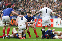 2nd February 2020, Stade de France, Paris; France, 6-Nations International rugby union, France versus England;  Antoine Dupont (France) looks to break covered by Tom Curry and Joe Marler