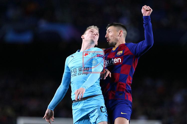UEFA Champions League 2019/2020.<br /> Matchday 4.<br /> FC Barcelona vs SK Slavia Praha: 0-0.<br /> Petr Sevcik vs Clement Lenglet.