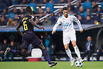 Cristiano Ronaldo of Real Madrid (R) fights for the ball with Davinson Sanchez of Tottenham Hotspur FC (L) during the UEFA Champions League 2017-18 match between Real Madrid and Tottenham Hotspur FC at Estadio Santiago Bernabeu on 17 October 2017 in Madrid, Spain. Photo by Diego Gonzalez / Power Sport Images