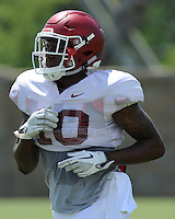 NWA Democrat-Gazette/ANDY SHUPE<br /> Arkansas defensive back Ryan Pulley participates in a drill Saturday, Aug. 8, 2015. during practice at the university football practice field in Fayetteville.