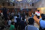 (L-R) Kenzo Shirai, Ryohei Kato, <br /> Kohei Uchimura, Yusuke Tanaka, <br /> Koji Yamamuro (JPN), <br /> AUGUST 20, 2016 - Artistic Gymnastics : <br /> Japanese gymnasts attend a media conference in Chiba, Japan. <br /> Japan won the gold medal <br /> at the Artistic Gymnastics men's team competition <br /> in the Rio 2016 Olympic Games. <br /> (Photo by AFLO SPORT)