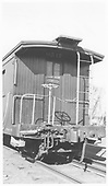 Long caboose #0517 end platform.<br /> D&amp;RGW  Alamosa, CO  Taken by Maxwell, John W. - 1/18/1946