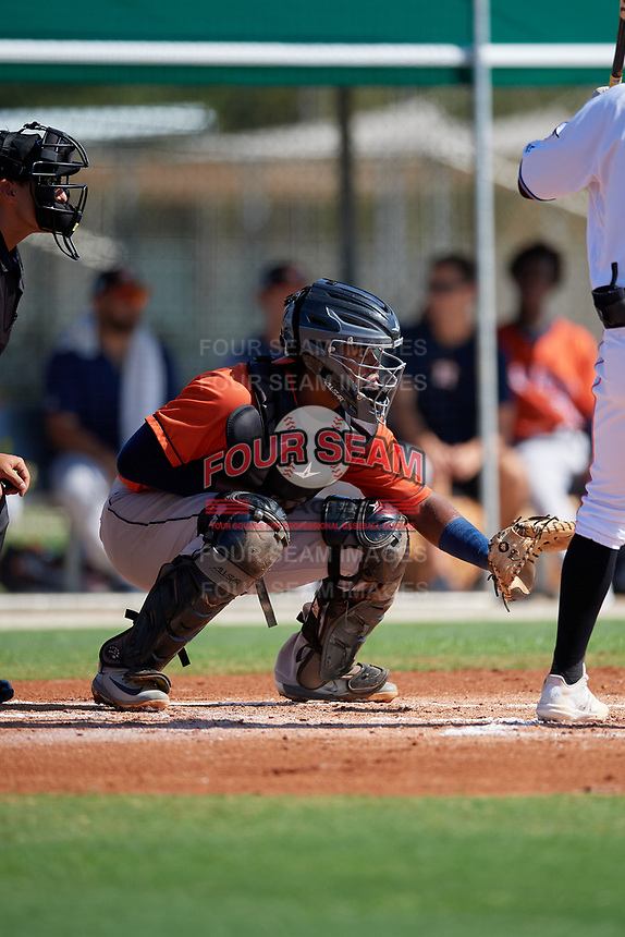 GCL Astros catcher Nerio Rodriguez (58) during a Gulf Coast League game against the GCL Marlins on August 8, 2019 at the Roger Dean Chevrolet Stadium Complex in Jupiter, Florida.  GCL Astros defeated GCL Marlins 4-2.  (Mike Janes/Four Seam Images)