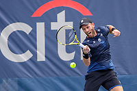 Washington, DC - August 3, 2019:  Raven Klaasen (RSA)hits the ball during the  Men Doubles semi finals at William H.G. FitzGerald Tennis Center in Washington, DC  August 3, 2019.  (Photo by Elliott Brown/Media Images International)