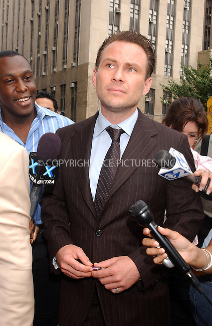 WWW.ACEPIXS.COM . . . . . ....NEW YORK, JULY 14, 2005....Christian Slater Leaving his hearing regarding a charge of forcible touching.....Please byline: KRISTIN CALLAHAN - ACE PICTURES.. . . . . . ..Ace Pictures, Inc:  ..Craig Ashby (212) 243-8787..e-mail: picturedesk@acepixs.com..web: http://www.acepixs.com