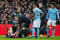 Referee Jonathan Moss & Man City players show concern as Scott Dann of Crystal Palace lays injured during the Premier League match between Crystal Palace and Manchester City at Selhurst Park, London, England on 31 December 2017. Photo by Andy Rowland.