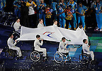 LONDON, ENGLAND 08/29/2012:  The International Paralympic Committee flag enters the stadium during Opening Ceremonies at the London 2012 Paralympic Games in the Olympic Stadium. (Photo by Matthew Murnaghan/Canadian Paralympic Committee)