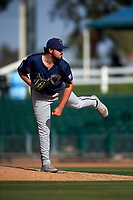 Lancaster JetHawks relief pitcher Ben Bowden (45) follows through on his delivery during a California League game against the Inland Empire 66ers at San Manuel Stadium on May 20, 2018 in San Bernardino, California. Inland Empire defeated Lancaster 12-2. (Zachary Lucy/Four Seam Images)