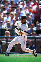SAN FRANCISCO, CA - Marvin Benard of the San Francisco Giants bats during a game at AT&T Park in San Francisco, California in 2000. Photo by Brad Mangin