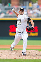 Charlotte Knights relief pitcher Taylor Thompson (27) in action against the Pawtucket Red Sox at BB&T Ballpark on August 10, 2014 in Charlotte, North Carolina.  The Red Sox defeated the Knights  6-4.  (Brian Westerholt/Four Seam Images)