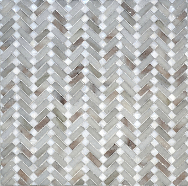 Antiquerita, a natural stone hand-cut mosaic shown in Angora honed and Shell, is part of the Miraflores collection by Paul Schatz for New Ravenna.