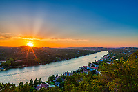 Mount Bonnell at Sunset- This is another capture from Mount Bonnell at sunset in Austin from the cliffs over Lake Austin. This scenic vista overlook of Lake Austin and the city of Austin is a great spot to see the cityscape or the hill country.  Mount Bonnell is a great spot for locals and tourist to watch the sunset looking west towards the Pennybacker Bridge or looking east to the downtown skyline. The walk up the stair can be a little difficult for some but it is worth the view. You can take a picnic and enjoy the view of the city or the sunset all from Mount Bonnell.