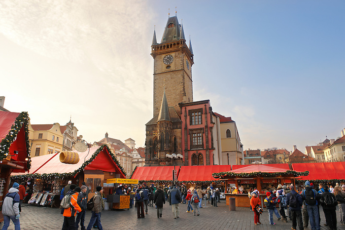 "festive ""Christmas Market prague"" at night The old Town Square, Prague, Czech Republic"