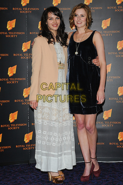 JESSICA BROWN FINDLAY & LAURA CARMICHAEL.The Royal Television Society (RTS) Awards, Grosvenor House Hotel, Park Lane, London, England, UK,.March 15th 2011..full length white maxi dress peach blazer jacket platform gold open toe velvet shoes black.CAP/CJ.©Chris Joseph/Capital Pictures.