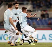 Calcio, Serie A: Roma, stadio Olimpico, 20 settembre 2017.<br /> Napoli's Jos&eacute; Maria Callejon (r) scores during the Italian Serie A football match between Lazio and Napoli at Rome's Olympic stadium, September 20, 2017.<br /> UPDATE IMAGES PRESS/Isabella Bonotto