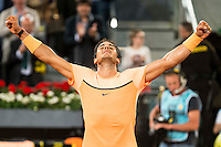 Spanish Rafael Nadal celebrating the victory during Mutua Madrid Open Tennis 2016 in Madrid,  May 06, 2016. (ALTERPHOTOS/BorjaB.Hojas) /NortePhoto.com /NortePhoto