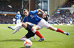 Lee Wallace taken down by the corner flag