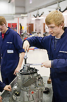 Students working on a gearbox, Motor Mechanics, Further Education College.