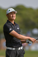 HaoTong Li (CHN) watches his approach shot on 1 during day 2 of the Valero Texas Open, at the TPC San Antonio Oaks Course, San Antonio, Texas, USA. 4/5/2019.<br /> Picture: Golffile | Ken Murray<br /> <br /> <br /> All photo usage must carry mandatory copyright credit (© Golffile | Ken Murray)
