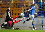 St Johnstone v Motherwell......27.10.13      SPFL<br /> Stevie May puts the ball past Gunnar Neilsen to make it 1-0 to Saints<br /> Picture by Graeme Hart.<br /> Copyright Perthshire Picture Agency<br /> Tel: 01738 623350  Mobile: 07990 594431