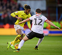 Blackburn Rovers' Kasey Palmer vies for possession with Sheffield United's John Egan<br /> <br /> Photographer Chris Vaughan/CameraSport<br /> <br /> The EFL Sky Bet Championship - Sheffield United v Blackburn Rovers - Saturday 29th December 2018 - Bramall Lane - Sheffield<br /> <br /> World Copyright © 2018 CameraSport. All rights reserved. 43 Linden Ave. Countesthorpe. Leicester. England. LE8 5PG - Tel: +44 (0) 116 277 4147 - admin@camerasport.com - www.camerasport.com