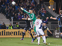 March 3rd, 2013: Jon Busch hits the ball out of the box during a game against Salt Lake Real at Buck Shaw Stadium, Santa Clara, Ca.  Salt Lake Real defeated San Jose Earthquakes