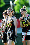 BERLIN, GERMANY - JUNE 22: Semifinal between Team Germany (black) vs LCC Radotin (white) during the Berlin Open Lacrosse Tournament 2013 at Stadion Lichterfelde on June 22, 2013 in Berlin, Germany. Final score 9-8. (Photo by Dirk Markgraf/www.265-images.com) *** Local caption *** #54 Mareile Kriwall of Germany, #49 Jella Kandziora of Germany, #59 Henrike Voigt of Germany