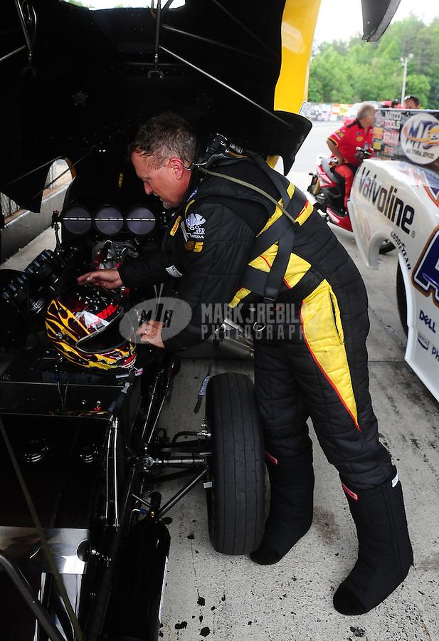 May 14, 2011; Commerce, GA, USA: NHRA funny car driver Jeff Arend during qualifying for the Southern Nationals at Atlanta Dragway. Mandatory Credit: Mark J. Rebilas-