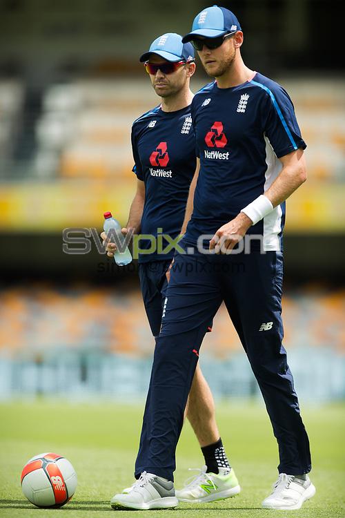 Ashes Preview - Jimmy Anderson (l) and Stuart Broad (r) at the Gabba Cricket Ground, Brisbane, Australia. 22 Nov 2017. Copyright photo: Patrick Hamilton / www.photosport.nz MANDATORY CREDIT/BYLINE : Patrick Hamilton/SWpix.com/PhotosportNZ