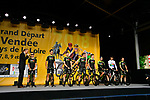 Mitchelton-Scott on stage at the Team Presentations for the 105th Tour de France 2018 held on Napoleon Square in La Roche-sur-Yon, France. 5th July 2018. <br /> Picture: ASO/Bruno Bade | Cyclefile<br /> All photos usage must carry mandatory copyright credit (&copy; Cyclefile | ASO/Bruno Bade)