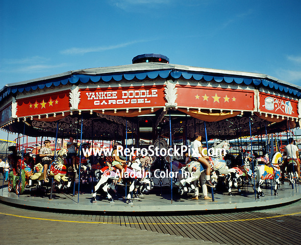 Yankee Doodle Carousel On The Wildwood, NJ Boardwalk. 1960's