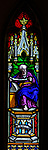 Stained glass window in church of Saint Margaret of Antioch, Leigh Delamere, Wiltshire, England, UK by Wilmshurst 1846 Joel
