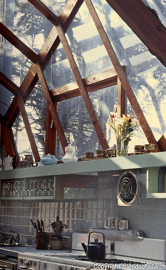 Frank Gehry House, kitchen design. Santa Monica, CA. Post-Modern. Photo, Jan. 1987.