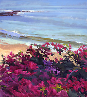 "Rolled Canvas Print: Bougainvillea, Wave 1101012 -- Image Size  24 x 26 3/4""   on a 30 x 33 Canvas. 2""  Grey Border on sides for stretching Acrylic Painting by Marcia Burtt"