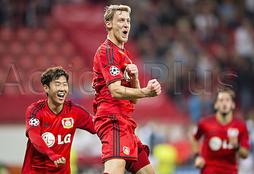 27.08.2014. Leverkusen, Germany. UEFA Champions League qualification match. Bayer Leverkusen versus FC Copenhagen. Stefan Kiessling (Bayer)celebrates his goal