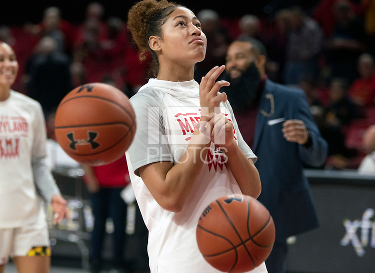 COLLEGE PARK, MD - FEBRUARY 9: Shakira Austin #1 of Maryland warms up during a game between Rutgers and Maryland at Xfinity Center on February 9, 2020 in College Park, Maryland.