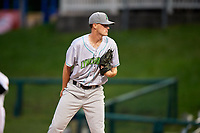 Lynchburg Hillcats starting pitcher Micah Miniard (31) looks in for the sign during the second game of a doubleheader against the Frederick Keys on June 12, 2018 at Nymeo Field at Harry Grove Stadium in Frederick, Maryland.  Frederick defeated Lynchburg 8-1.  (Mike Janes/Four Seam Images)
